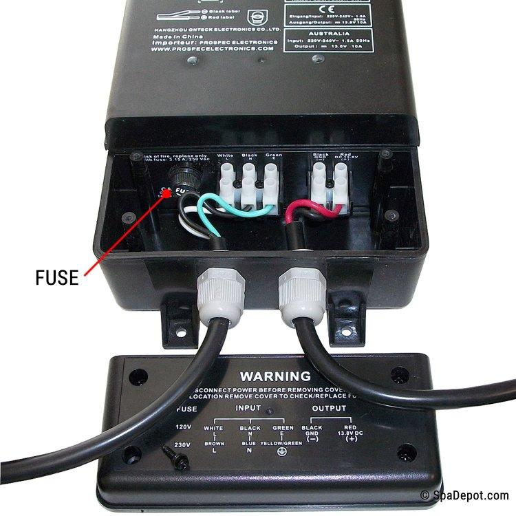 spa stereo 12vdc power supply 120v 240v primary spadepot com spa stereo 12vdc power supply 120v 240v primary
