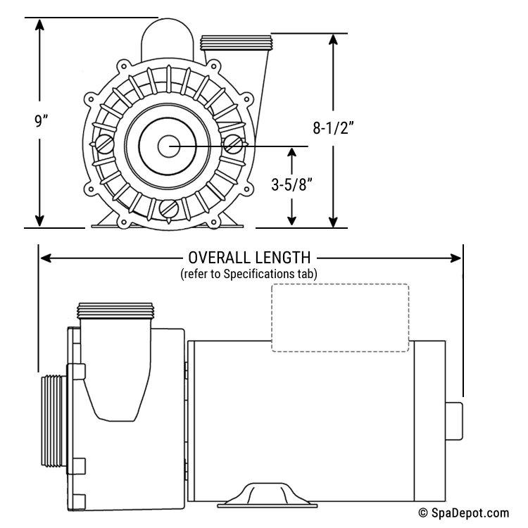 4hp Waterway Hot Tub Pump  U0026 Motor - 2 5 U0026quot  In  2 0 U0026quot  Out 56 Frame